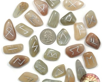 Reg Moonstone Rune Set Hand Carved Elder Futhark With Manual & Pouch