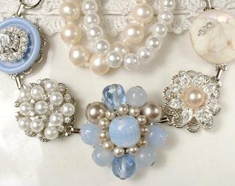 OOAK Dusty Blue, Champagne & Ivory Pearl Rhinestone Bridal Bracelet, Vintage Earring Bracelet Powder Blue Bridesmaid Gift Romantic Wedding