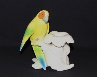 Yellow Parrot on Flower Candle Holder  (637)