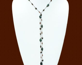 Long Faceted Raw Emerald, Faceted Andalusite and Faceted Pyrite Lariat Necklace- LT 124
