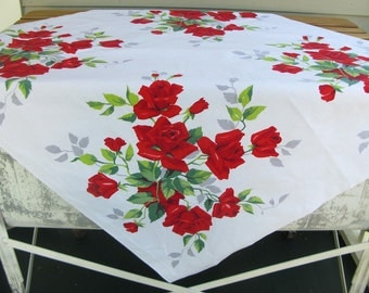 Vintage Floral Tablecloth, cotton, flowers, rose print, red, small, square