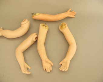 Vintage Doll arms, parts, bisque, ceramic, creepy halloween