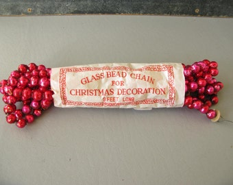Vintage Mercury Glass Beads, Mercury Glass bead garland, pink