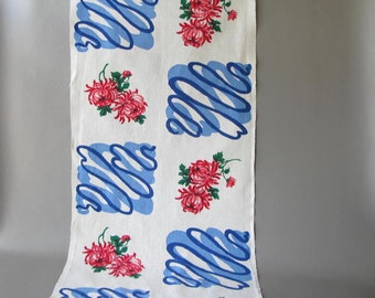 Vintage Cotton Tea Towel, Kitchen Towel, Dish Towel, floral, blue, red