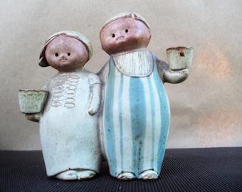 Vintage Stoneware Stylized Girl and Boy Thin Candle Holder
