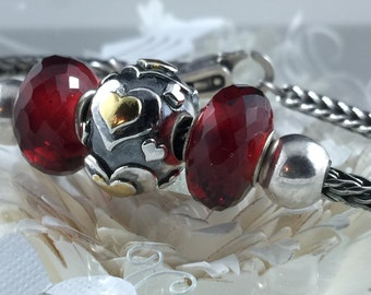 Made to Order Large Hearts Big Hole Bead for European Bracelets