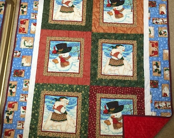 "Snowman Quilt With Red Minky Back 54.5"" X 44"""