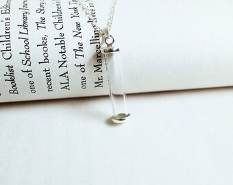 Tiny Glass Tube Necklace. sterling silver glass bottle necklace. glass treasure tube necklace. mini glass bottle necklace. memorial bottle