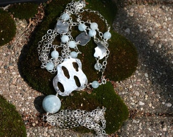 Long Sterling Silver Aqua Marine Necklace with Sterling Pendant and Tassel