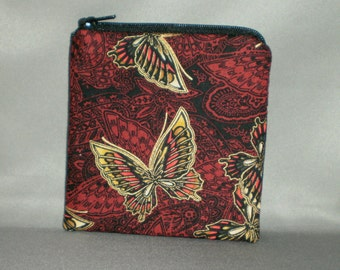 Coin Purse - Gift Card Holder - Card Case -Small Padded Zippered Pouch - Mini Wallet - Butterfly