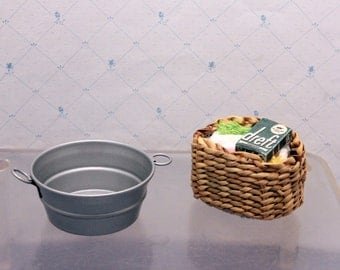 Dollhouse Laundry Miniature Wash Tub Wicker Clothes Basket Box Soap