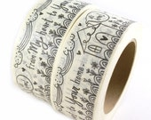 SHOP EXCLUSIVE - From my heart to your home masking tape - flowers, clouds and house design - 55 yards