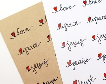 Heart and hand lettering faith-based sticker set  | set of 50 labels Love, Grace, Jesus, Praise, Trust -planner stickers, daily devotional