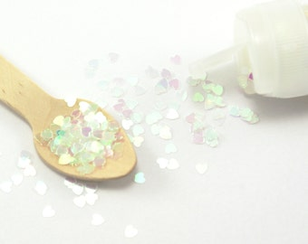 Teeny iridescent glitter hearts - PEARL WHITE - 3 mm shiny heart shapes for packaging, crafting, shaker cards