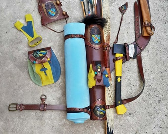 A Set Of A Multi-functional Quiver, An Arm Guard, A Bow-hand Protecting Glove And A Belt Pouch Yellow & Blue