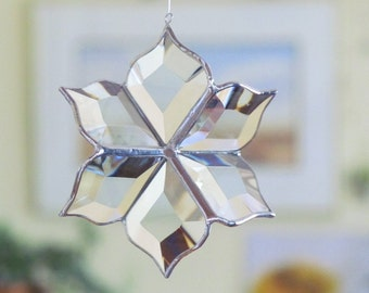 Glass Flower Suncatcher 3D Stained Glass Ornament Indoor Outdoor Garden Art Mothers Day Gift Made in Canada