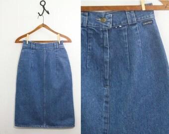 90s skirt - high waisted 90s denim skirt -  90s Calvin Klein jean skirt  - 90s clothing - vintage denim skirt