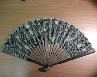 Vintage Japanese Bamboo and Paper Fan