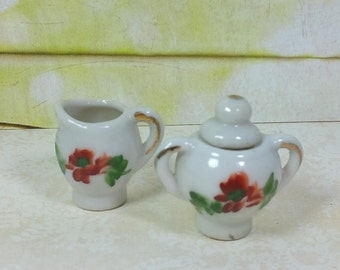 "MINIATURE or Toy Size Sugar w/Lid and Creamer, 1"" Tall, Hand Painted, Vintage China Dishes"