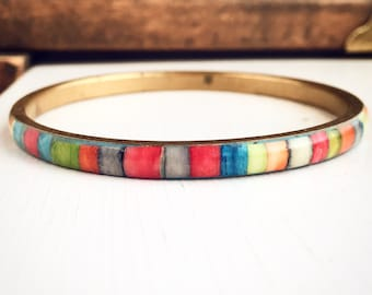 Vintage Brass and Rainbow Bangle Bracelet / Stacking Bohemian Style Layering Stacks / Boho Gypsy Belly Dancer Costume Festival Hippie Love