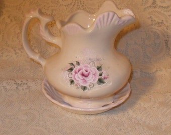 Victorian Wash Bowl and Pitcher Set Hand Painted Pink Victorian Rose Ceramic Vintage Look