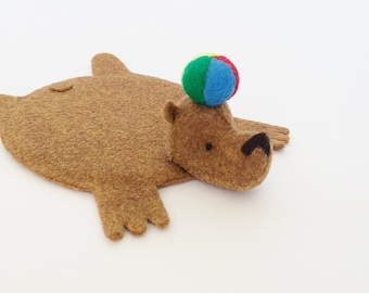 Bear Rug Coaster with Beach Ball