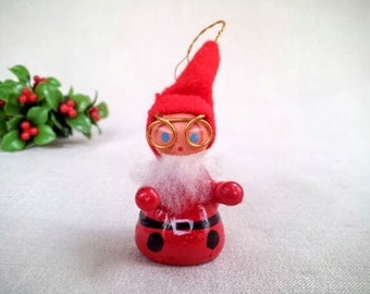 Vintage Santa Claus Ornament with Spectacles, Hand Painted Wood Miniature Doll Figurine Ornament, Christmas Holiday Decoration