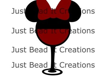 Minnie Mouse Inspired Wine Die Cut File