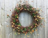 Birch twig wreath with rosehips