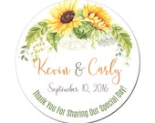 Custom Wedding Labels Personalized Rustic Sunflower Bouquet Watercolor Florals Round Glossy Designer Stickers - Quantity 100