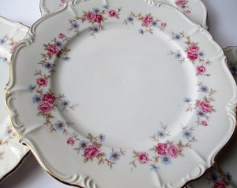 Vintage Dinner Plates Edelstein Florence Pink Blue Floral Set of Four