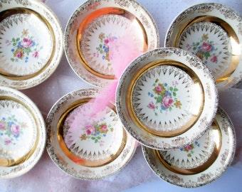 Vintage Homer Laughlin Gold Floral Dessert Bowls Set of Seven