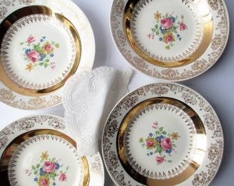 Vintage Homer Laughlin Gold Floral Soup Bowls Set of Four