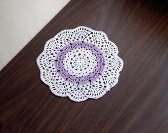 Lavender Decor Crochet Lace Doily, Table Accessory, Light Purple, White