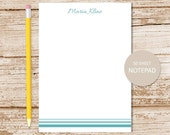 ombré stripes notepad, striped note pad - ombre border - personalized stationery, stationary - choose color & font