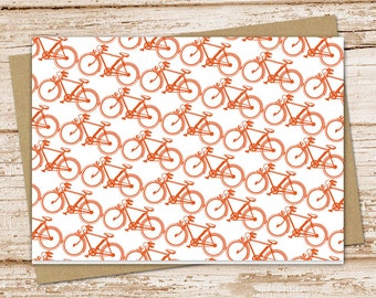 PRINTABLE bicycle note cards . bike notecards . blank note cards . copper bike . folded stationery . stationary . INSTANT DOWNLOAD
