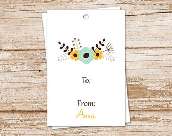 floral gift tags . botanical flower hang tags . birthday gift tags . personalized tags . to from tags . set of 12