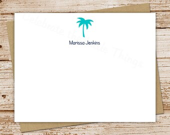 PRINTABLE personalized palm tree notecards . palm tree note cards . personalized stationery . FLAT beach summer stationary . You Print