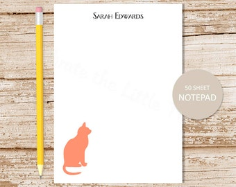 personalized cat notepad . cat note pad . personalized stationery . cat stationary . sitting cat silhouette