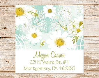 PRINTABLE daisy address labels . floral camomile daisies . personalized return address labels . You Print
