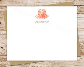 PRINTABLE baskeball notecards, note cards . personalized stationery . FLAT stationary . sports . You Print