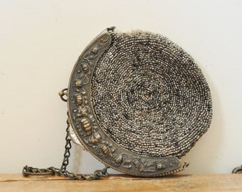 Antique Steel Cut Beaded Purse Steel Beads Evening Hand Bag Chatelaine Parts Restoration
