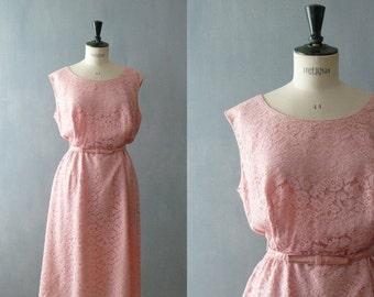 40% OFF SALE // Vintage lace dress. 50s pink lace wiggle dress. size plus lace dress