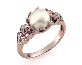 18k rose gold pearl ring rose gold engagement ring pearl wedding ring pearl - Pearl Wedding Ring