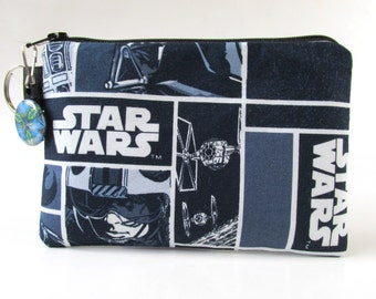 Handmade small pouch with zipper - split key ring - Star wars - Darth Vader - coin purse - makeup bag - credit cards - ready to ship