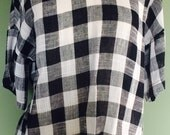 Vintage cheesecloth style check top (s/m)