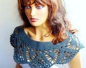 Crochet Dark Gray Capelet, Bridal Bolero Shrug Wrap Shawl, Fall Fashion, Lace Fashion, Winter Accessories