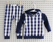 Baby Hoodie and Pants Set - Baby Leggings - Baby Sweatshirt - Blue Buffalo Plaid