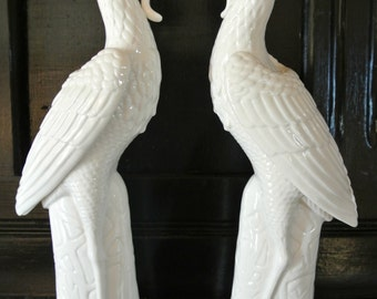 "PAIR of ""Phoenix"" Bird Statues-Porcelain-1930's-Numbered"