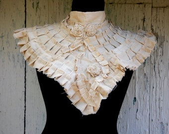 Steampunk collar,goth,victorian, diva,roses, shabby chic ,eco chic, jane austen, ruffle neck piece ,decadence,cream,tattered collar,vintage